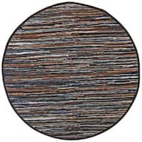 Hand-woven Matador Mix Brown Leather Rug - 8' x 8'