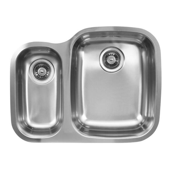 Ukinox D376.70.30.8R 70/30 Double Basin Stainless Steel Undermount Kitchen Sink
