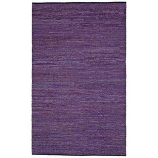 Hand-woven Matador Purple Leather Rug (10' x 14')