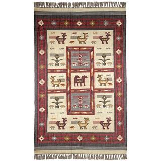 Hand-woven Tribal Wool/ Jute Rug (10' x 14') - 10' x 14'