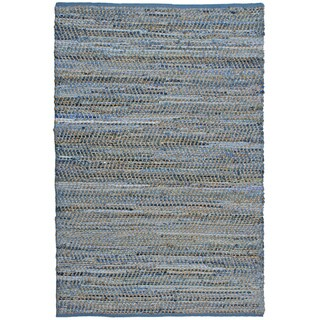 Blue Jeans Hand-woven Denim/ Hemp Rug (2'6 x 4'2)
