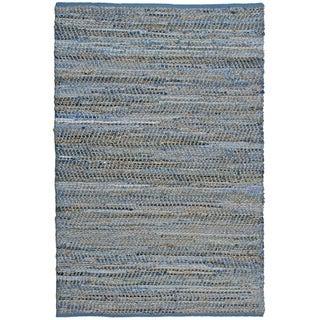 "Blue Jeans Hand-woven Denim/ Hemp Rug (2'6 x 4'2) - 2'6"" x 4'2"""