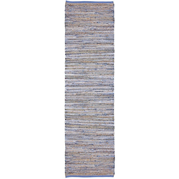 Blue Jeans Hand-woven Denim/ Hemp Runner Rug (2'6 x 8 ...