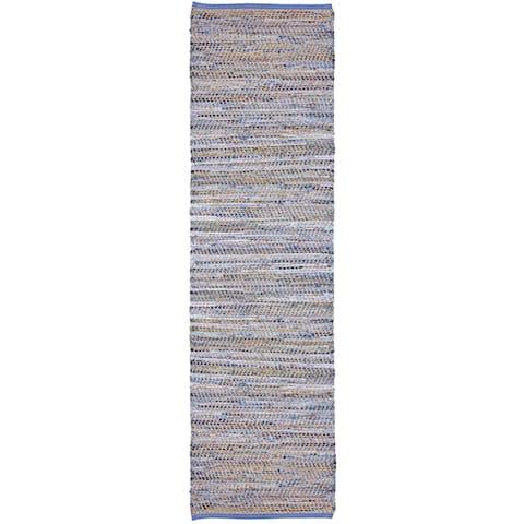 """Blue Jeans Hand-woven Denim / Hemp 2.5x8' Runner - 2'6"""" x 8'"""