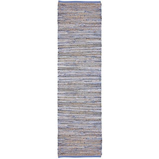 Blue Jeans Hand-woven Denim/ Hemp Runner Rug (2'6 x 12')