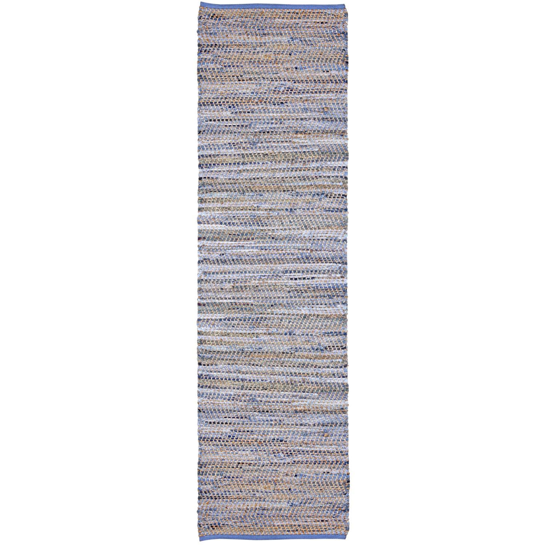 St. Croix Blue Jeans Hand-woven Denim/ Hemp Runner Rug (2...