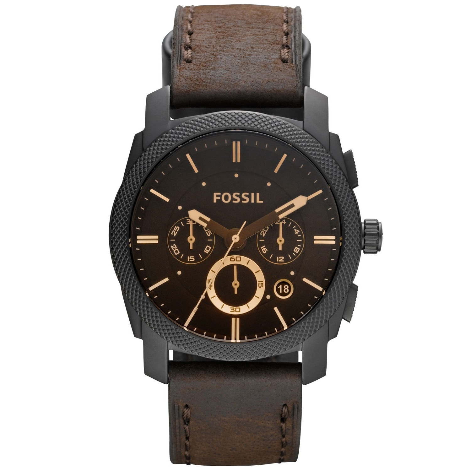 Fossil Men's FS4656 Machine Brown Leather Chronograph Wat...