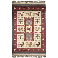 Hand Woven Tribal Wool and Jute 4x6' Rug - 4' x 6'