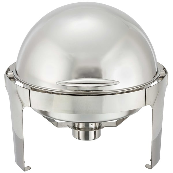 FortheChef Rothschild 6 Qt. Round Roll-Top Stainless Steel Chafer