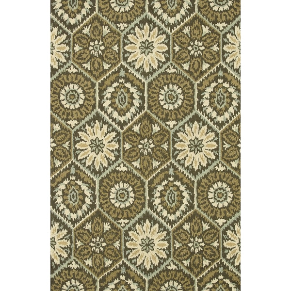 Hand-hooked Tessa Brown Geometric Floral Wool Rug - 9'3 x 13'