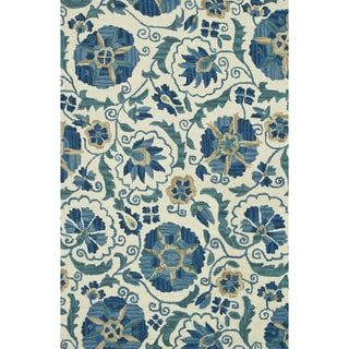 Hand-hooked Tessa Ivory/ Blue Wool Rug (9'3 x 13')