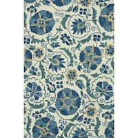 Hand-hooked Tessa Blue/ Ivory Wool Rug - 9'3 x 13'