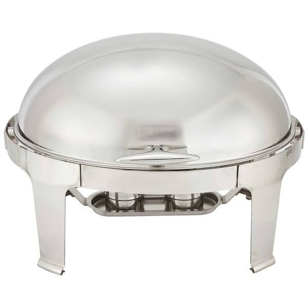 FortheChef Rothschild 7 Qt. Oval Roll-Top Stainless Steel Chafer