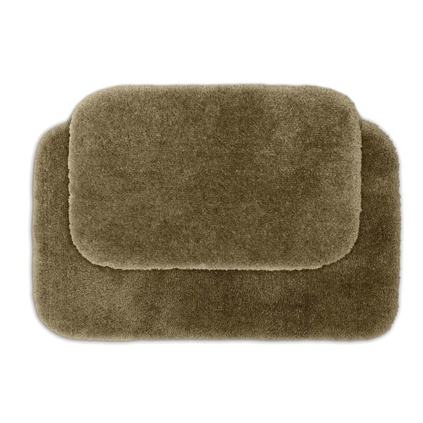 somette posh plush taupe 2 bath rug set free