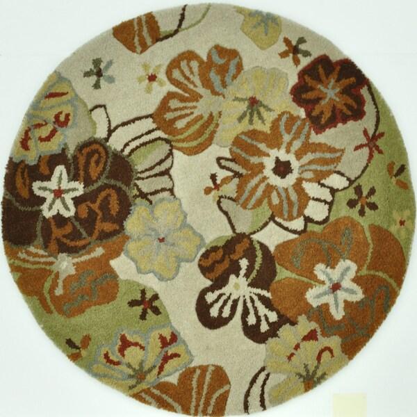 Hand Tufted Leighton Ivory Wool Rug (3'0 x 3'0)