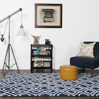 Microfiber Woven Navy Contemporary Geometric Rug - 9'3 x 13'