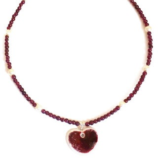 Every Morning Design Ceramic Heart On Garnet Necklace