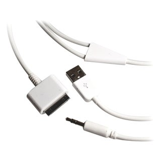 4XEM 30-Pin To 3.5mm Mini Jack Plus USB Charging For iPhone/iPod/iPad