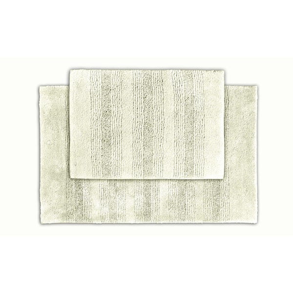 Somette Westport Ivory Stripe Bath Rug (Set of 2)