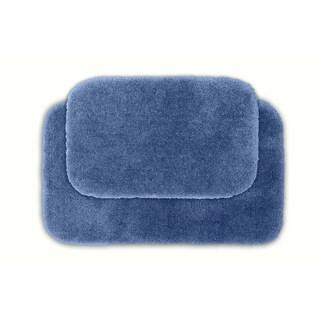 Somette Posh Plush Basin Blue Bath Rug (Set of 2)