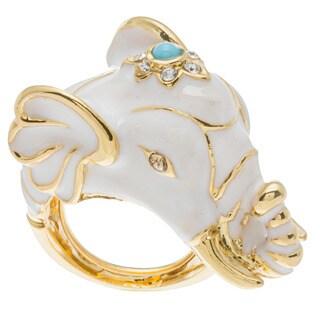 Kenneth Jay Lane Goldtone White Elephant Ring
