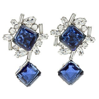 Kenneth Jay Lane Blue Crystal Earrings