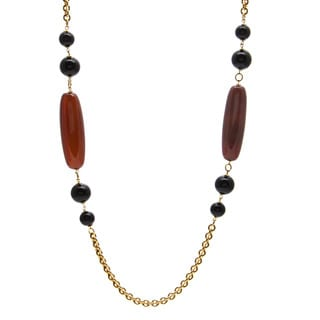 Kenneth Jay Lane Black/ Brown Beaded Necklace