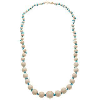 Kenneth Jay Lane White/ Turquoise Beaded Necklace