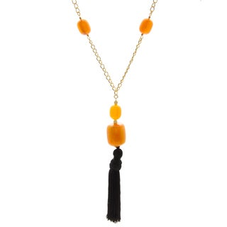 Kenneth Jay Lane Yellow with Black Tassel Necklace