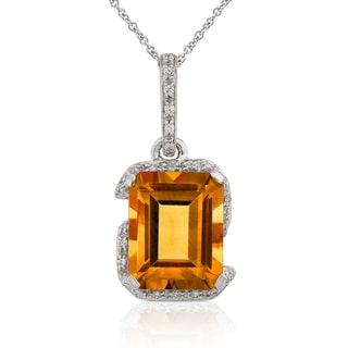 Annello by Kobelli 14k White Gold Citrine and 1/6ct TDW Diamond Necklace (H-I, I1-I2)