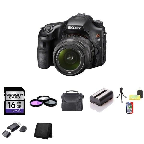 Sony Alpha SLT-A65 DSLR 24.3MP Digital Camera 18-55mm Lens 16GB Bundle