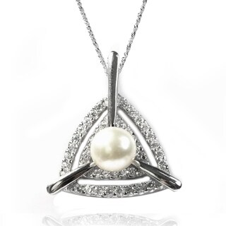 De Buman Sterling Silver Freshwater Pearl and CZ Necklace (8-9 mm)