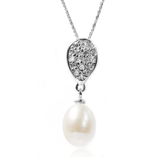 De Buman Sterling Silver Cultured Freshwater Pearl and CZ Necklace (8-9 mm)