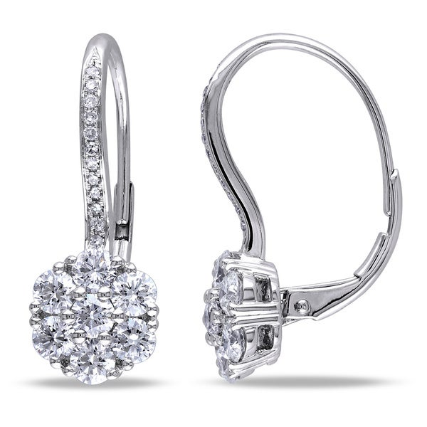 Miadora Signature Collection 14k White Gold 1 1/2ct TDW Diamond Earrings