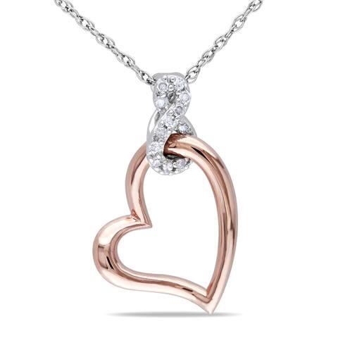 Miadora 10k Two-tone Gold Diamond Heart Infinity Necklace