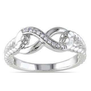 Miadora Sterling Silver Diamond Infinity Link Split Shank Ring (G-H, I2-I3)
