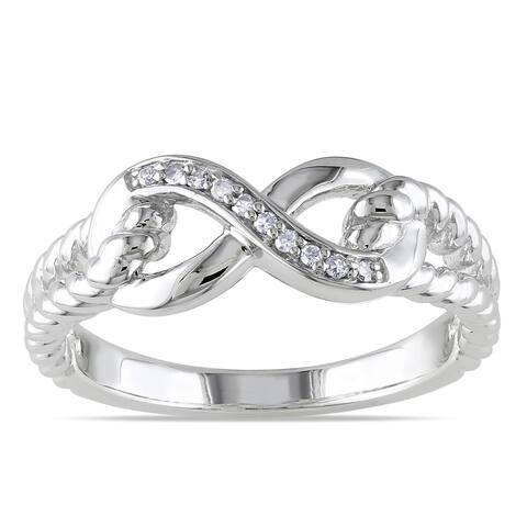 Miadora Sterling Silver Diamond Infinity Link Split Shank Ring