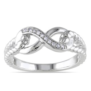 Link to Miadora Sterling Silver Diamond Infinity Link Split Shank Ring Similar Items in Rings