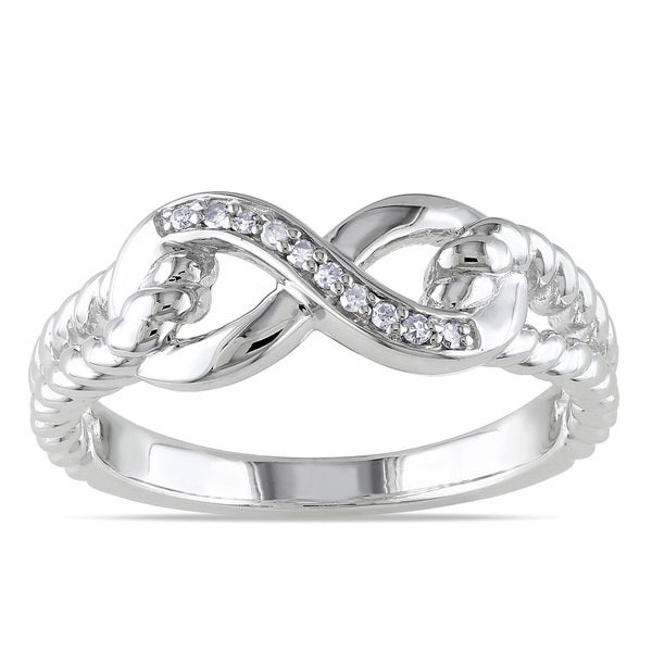 Miadora Sterling Silver Diamond Infinity Link Split Shank Ring