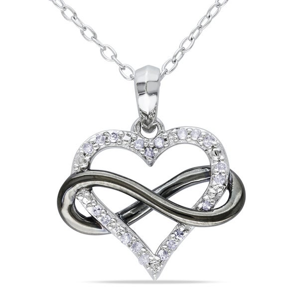Sterling Silver with Black Rhodium 1/10ct TDW Diamond Heart Infinity Necklace by Miadora