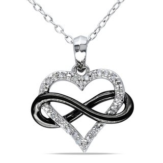 Link to Miadora Two-Tone Sterling Silver 1/10ct TDW Diamond Infinity Heart Necklace Similar Items in Bracelets
