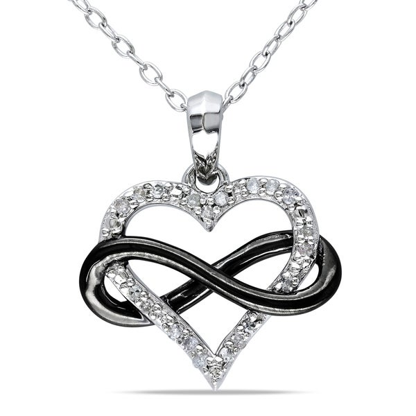Miadora Two-Tone Sterling Silver 1/10ct TDW Diamond Infinity Heart Necklace. Opens flyout.