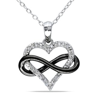 Miadora Sterling Silver with Black Rhodium 1/10ct TDW Diamond Heart Infinity Necklace
