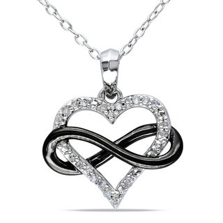 Miadora Two-Tone Sterling Silver 1/10ct TDW Diamond Infinity Heart Necklace