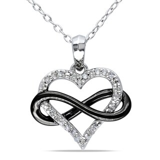 Miadora Two-Tone Sterling Silver 1/10ct TDW Diamond Infinity Heart Necklace|https://ak1.ostkcdn.com/images/products/7978643/P15347822.jpg?_ostk_perf_=percv&impolicy=medium