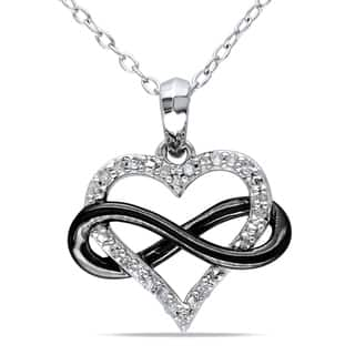 Miadora Two-Tone Sterling Silver 1/10ct TDW Diamond Infinity Heart Necklace|https://ak1.ostkcdn.com/images/products/7978643/P15347822.jpg?impolicy=medium