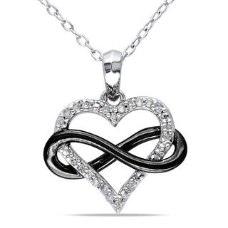 Miadora Two Tone Sterling Silver 1 10ct Tdw Diamond Infinity Heart Necklace