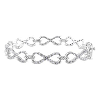 Miadora Sterling Silver 1/2ct TDW Diamond Infinity Bracelet (H-I, I2-I3)