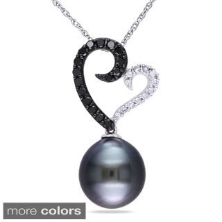 Miadora 10k White Gold Cultured Freshwater Pearl and 1/4ct TDW Diamond Necklace (H-I, I2-I3)