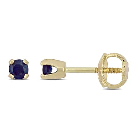 Miadora 14k Yellow Gold Blue or Pink Sapphire Baby Earrings